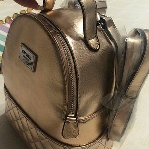 Rose gold with silver hardware GUESS mini backpack